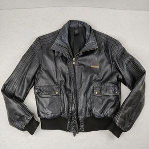 2004 Adidas Black Leather Distressed Jacket Unisex